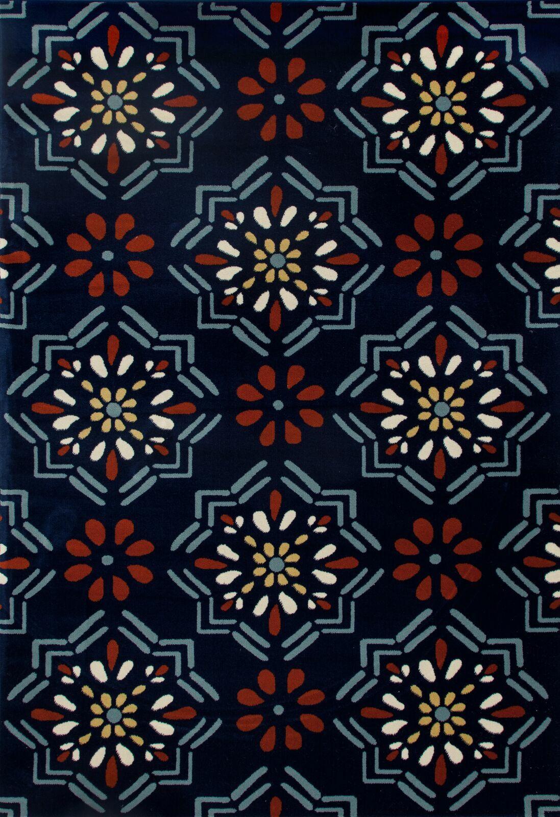 Vasquez Dark Blue/Orange Indoor/Outdoor Area Rug Rug Size: 7'10 x 10'6