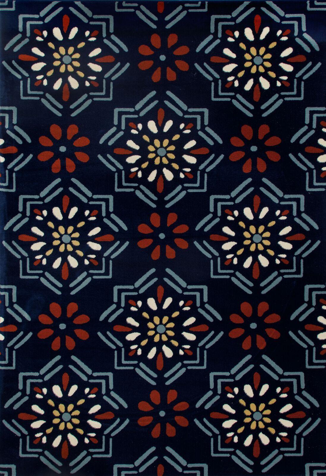Vasquez Dark Blue/Orange Indoor/Outdoor Area Rug Rug Size: 6'7 x 9'2