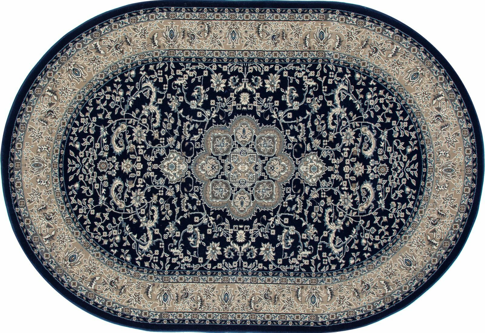 Lang Navy Area Rug Rug Size: OVAL 5'3 x 7'7