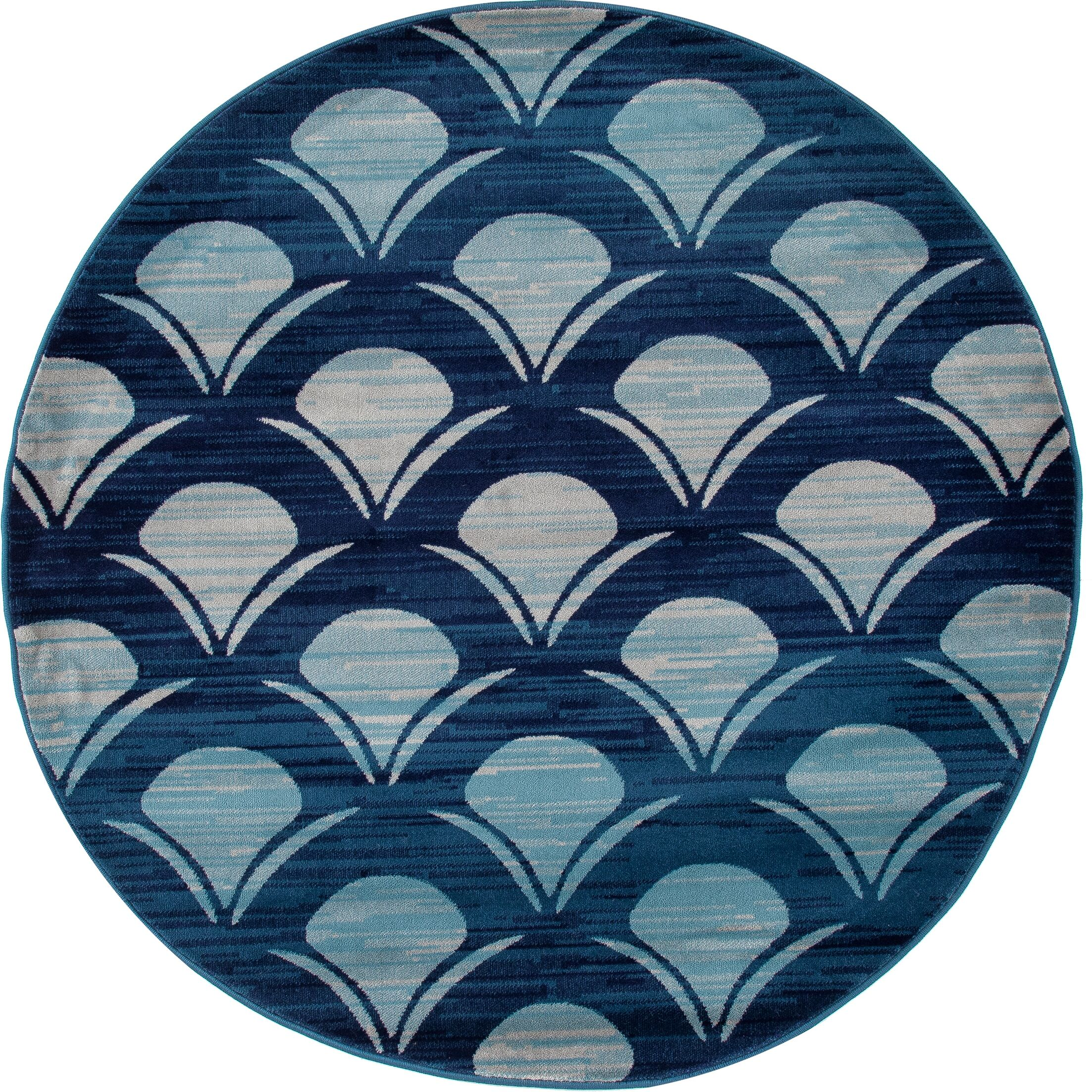 Ceasar Waves Navy Indoor/Outdoor Area Rug Rug Size: 5'3 x 7'7