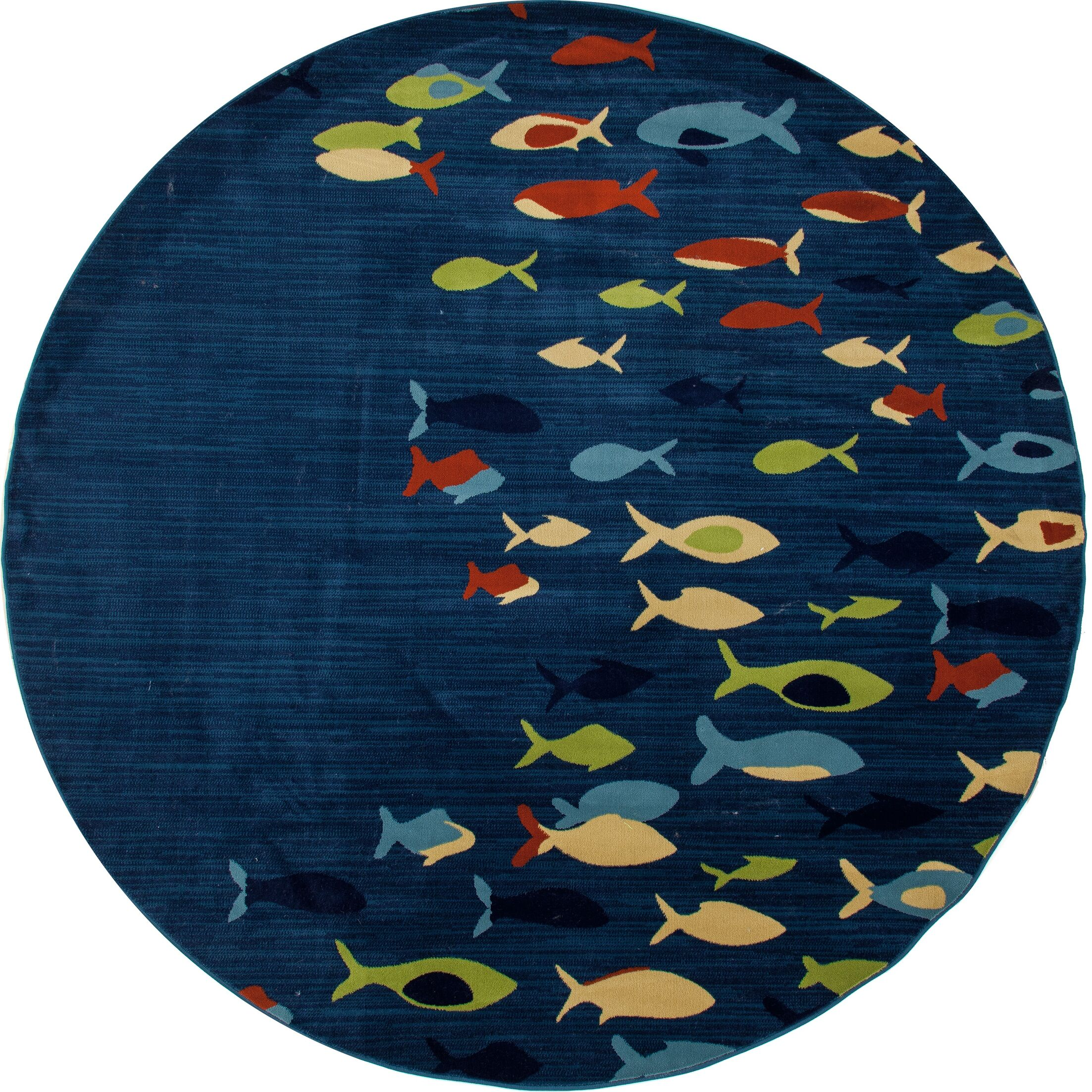 Ceasar Fish School Navy Indoor/Outdoor Area Rug Rug Size: 5'3 x 7'7