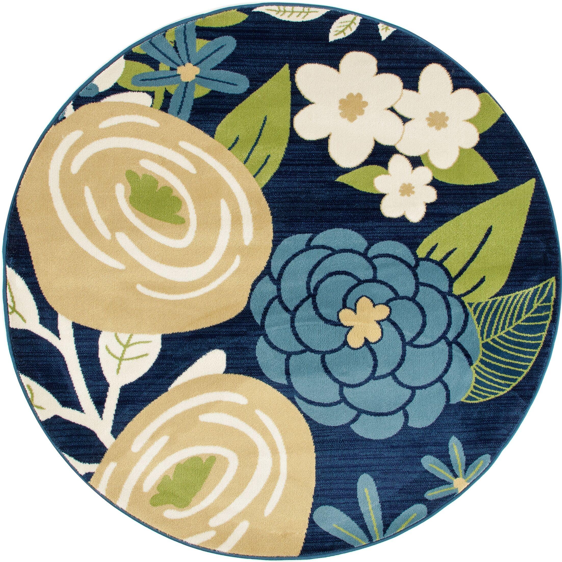 Ceasar Bouquet Blue Indoor/Outdoor Area Rug Rug Size: 6'7 x 9'2