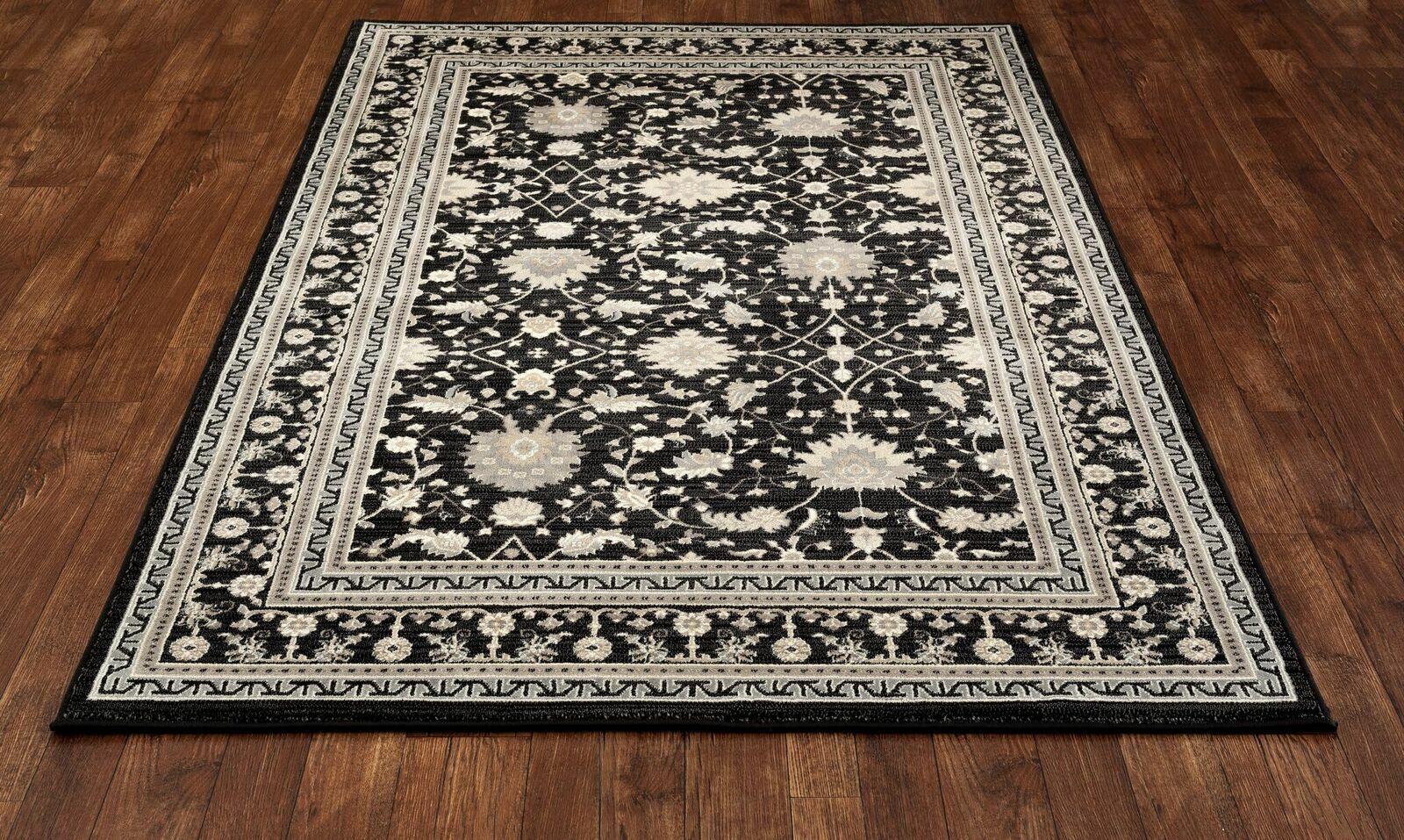 Highland Black/Cream Area Rug Rug Size: 5'3 x 7'7