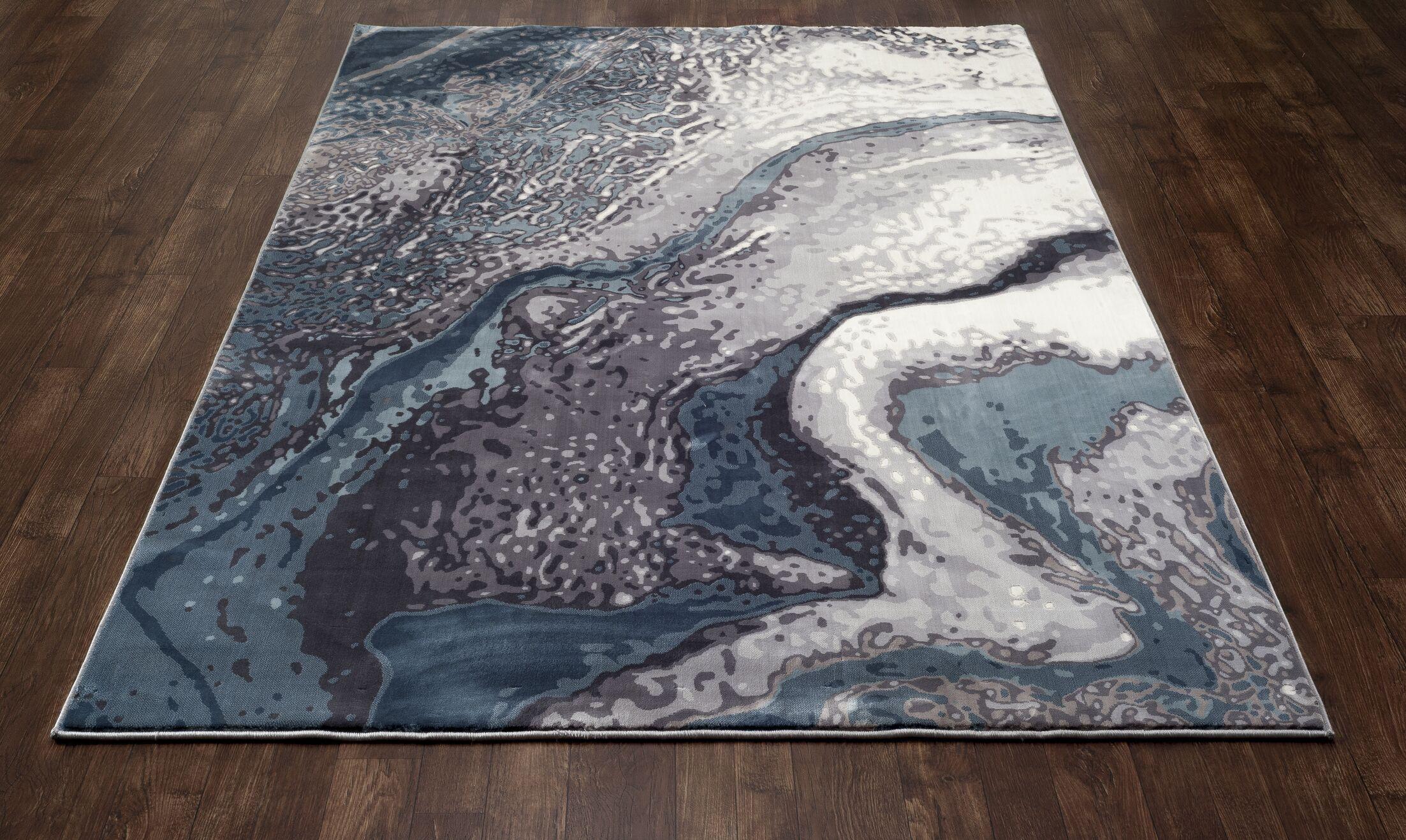 Mcconnell Aqua Blue/Cream Area Rug Rug Size: 2'2 x 3'7