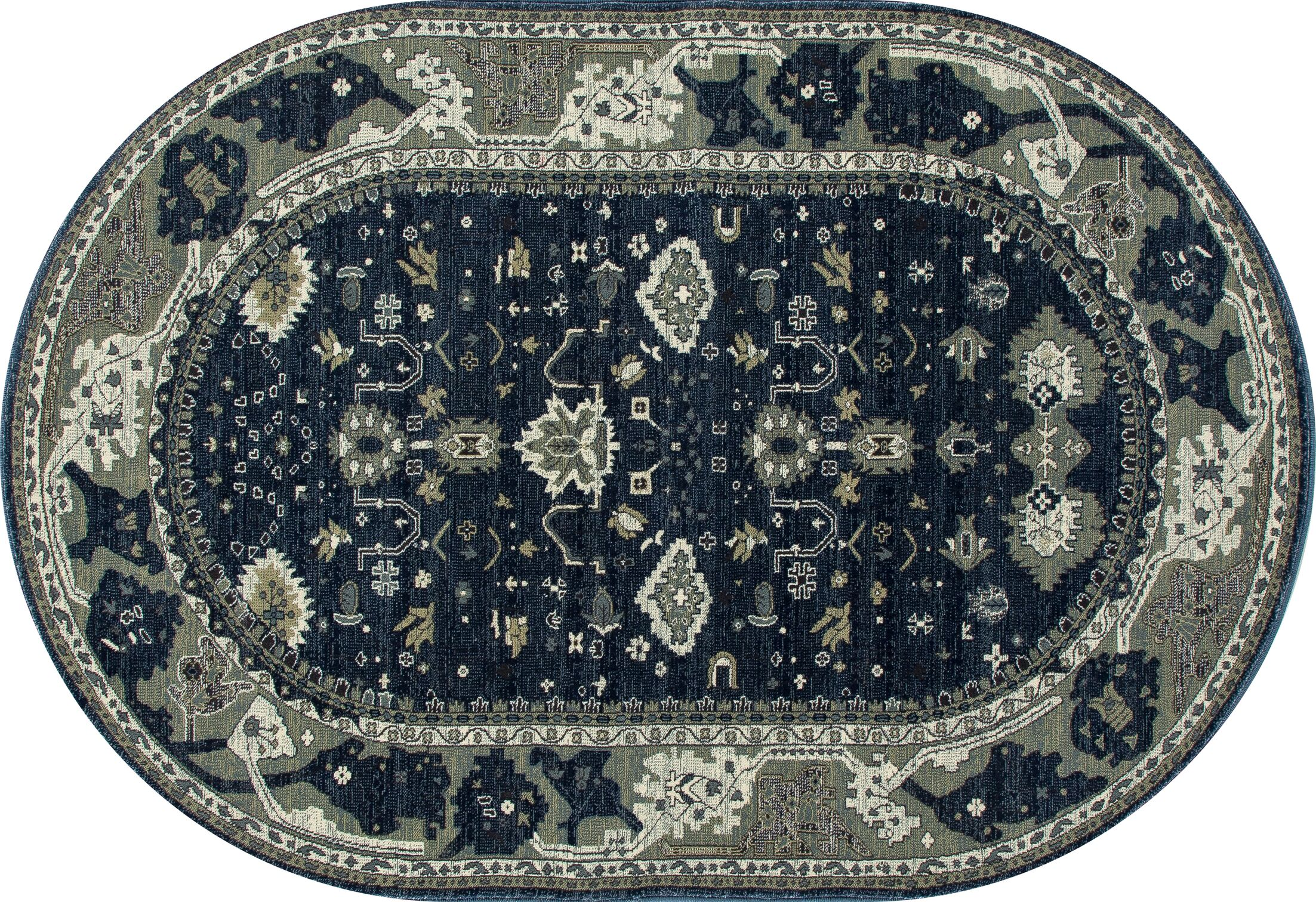 Castellano Navy Blue/Cream Indoor/Outdoor Area Rug Rug Size: OVAL 6'7 x 9'10