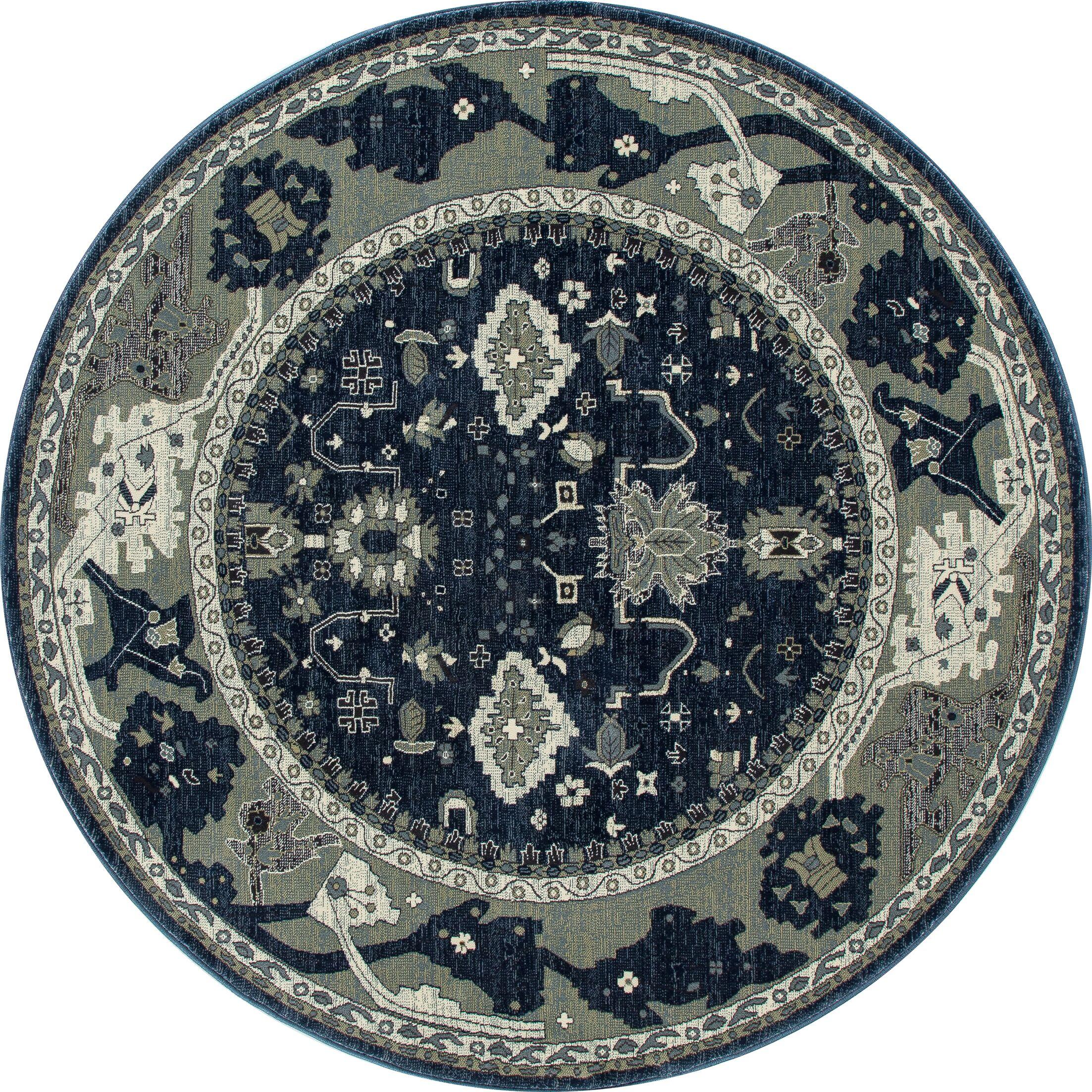 Castellano Navy Blue/Cream Indoor/Outdoor Area Rug Rug Size: ROUND 7'10