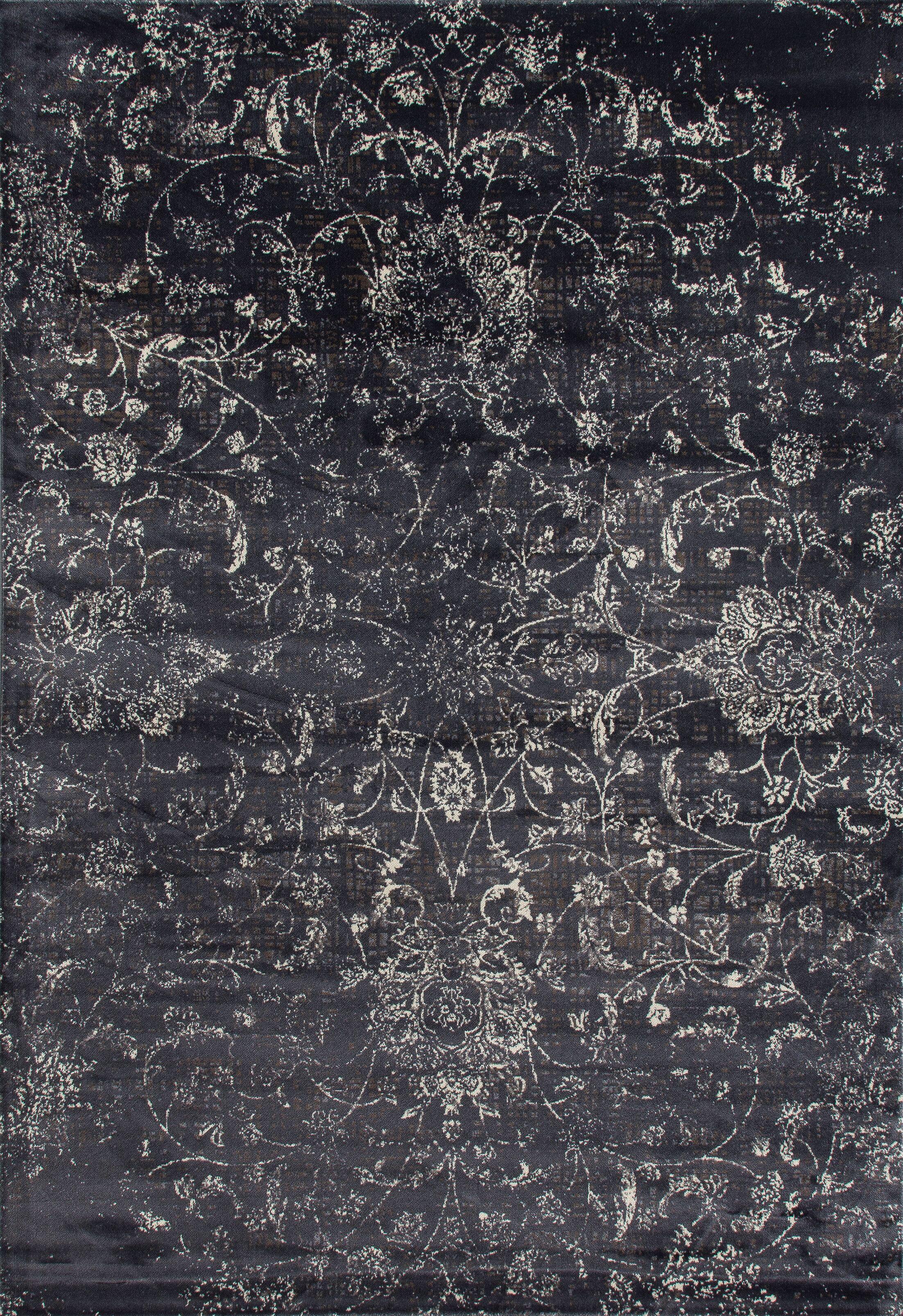 Devay Floral Gray Area Rug Rug Size: 7'10 x 11