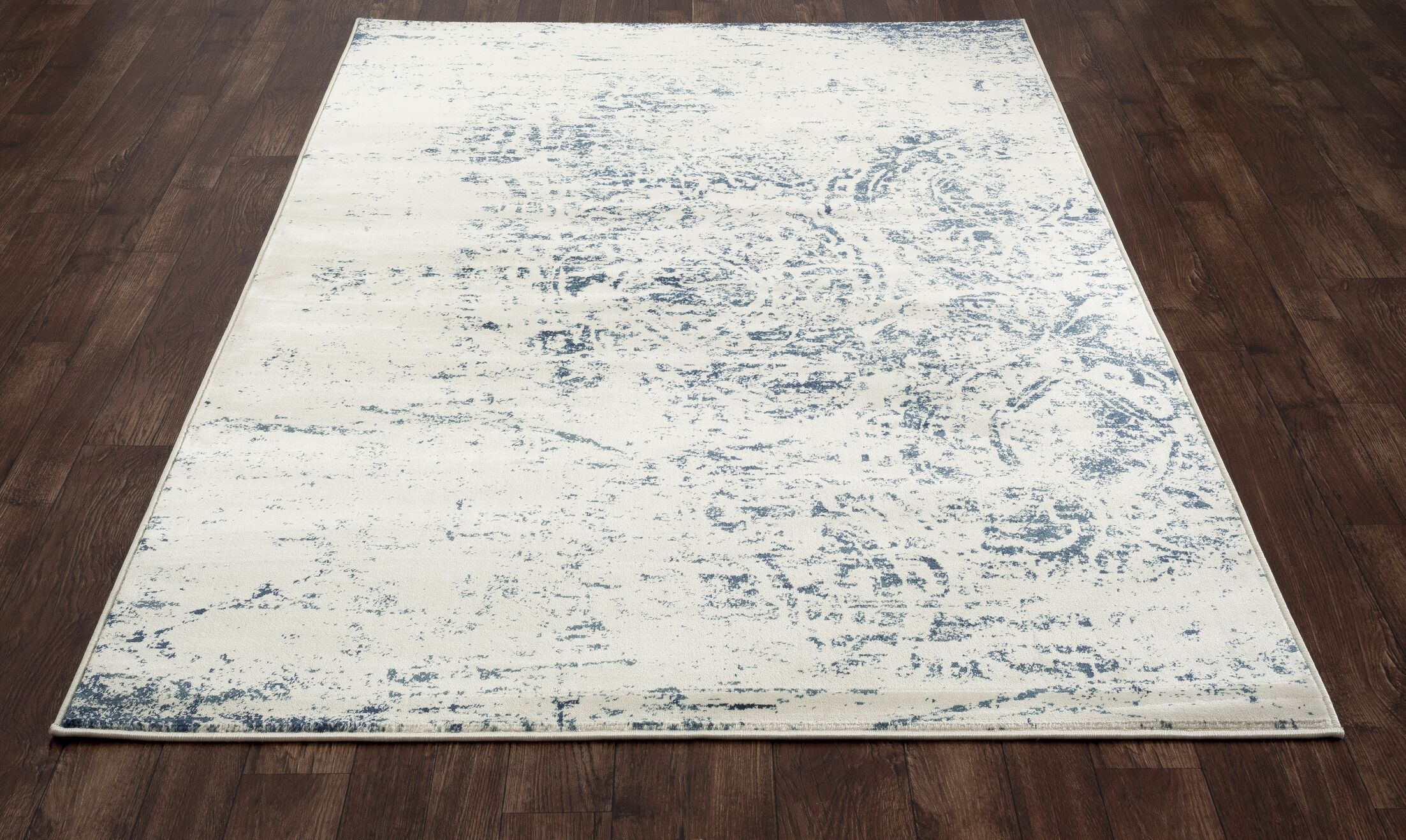 Devay Abstract Steel Blue Area Rug Rug Size: 9'2 x 12'6