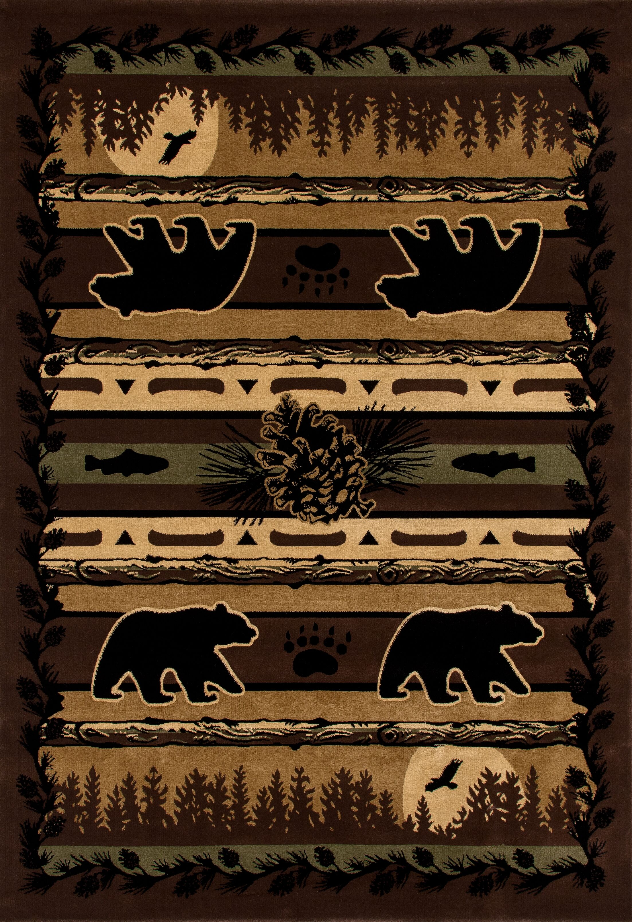 Raritan Grizzly Forest Black Area Rug Rug Size: 7'10 x 10'6