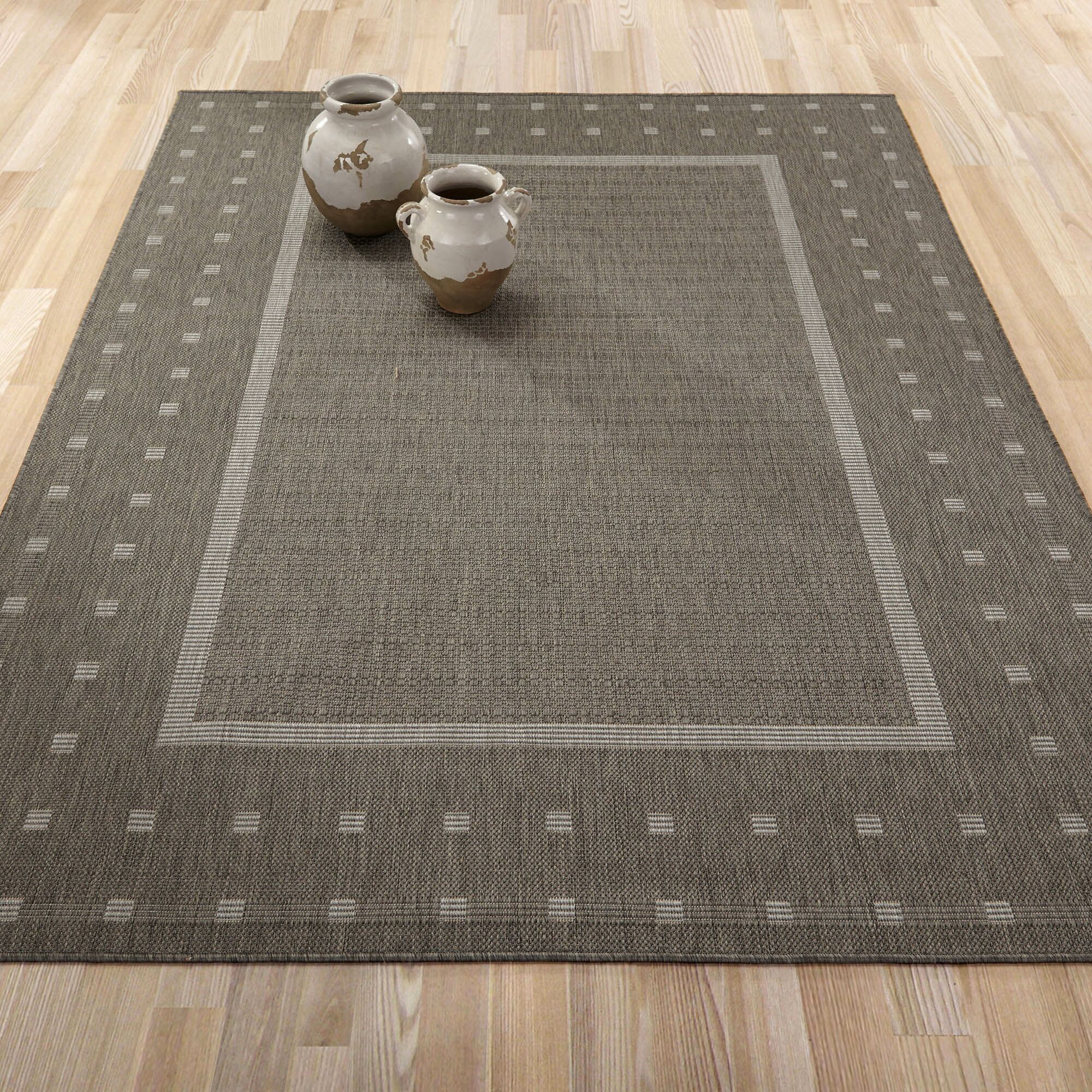 Summer Geometric Bordered Dark Gray Indoor/Outdoor Area Rug Rug Size: 5'3