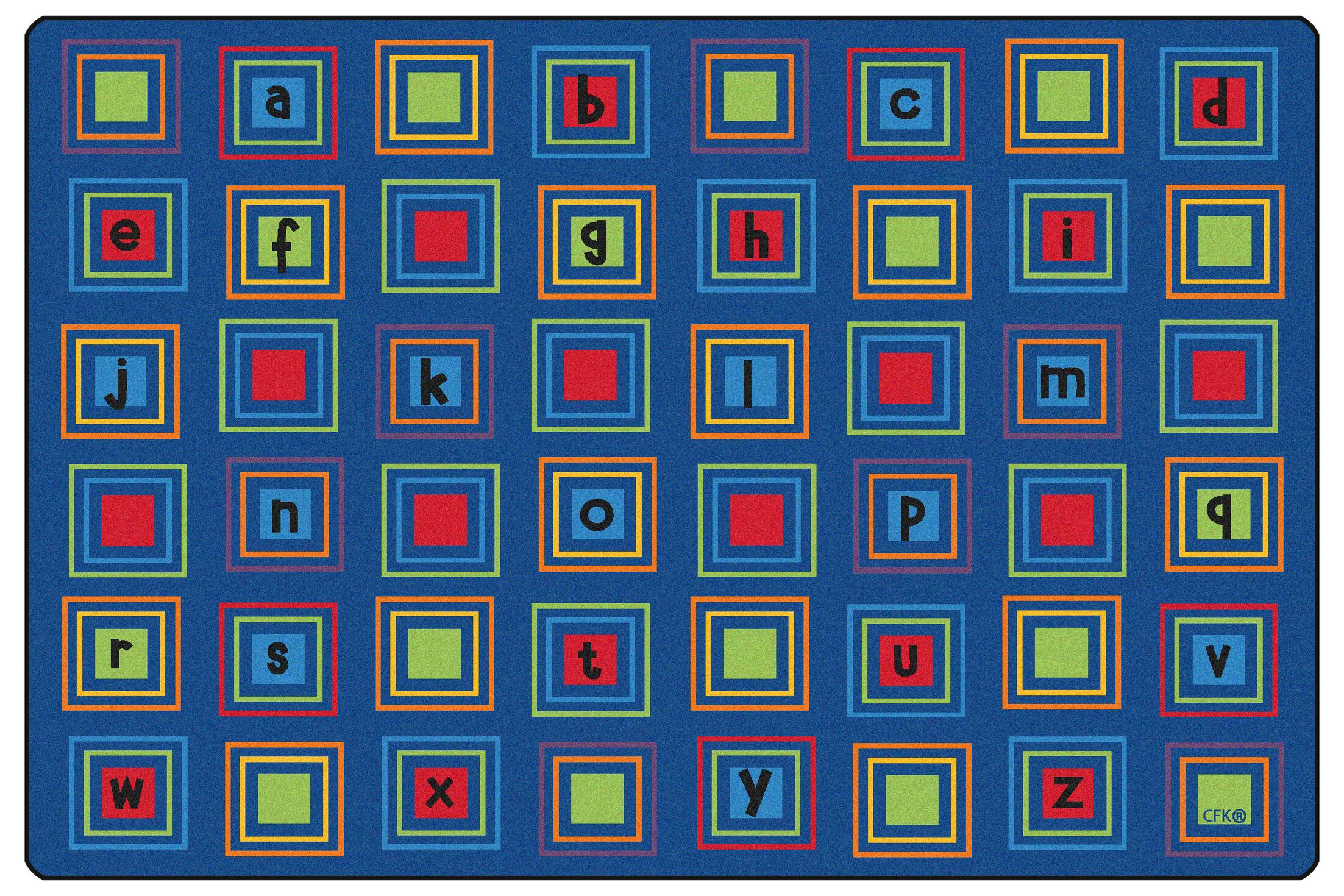 Literacy Squares Seating Kids Rug Rug Size: Rectangle 6' x 9'