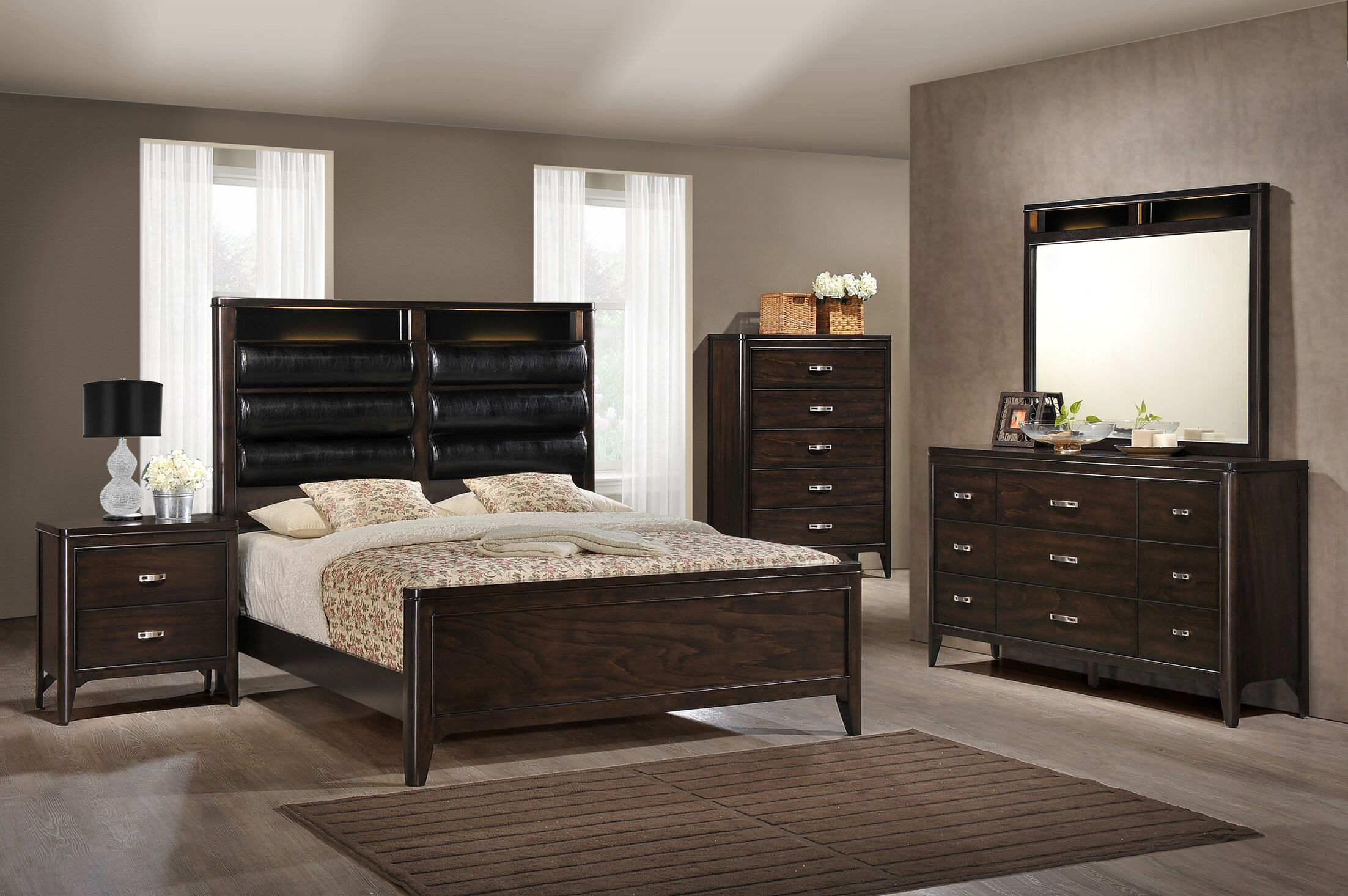 Babcock Upholstered Panel Bed with LED Size: King