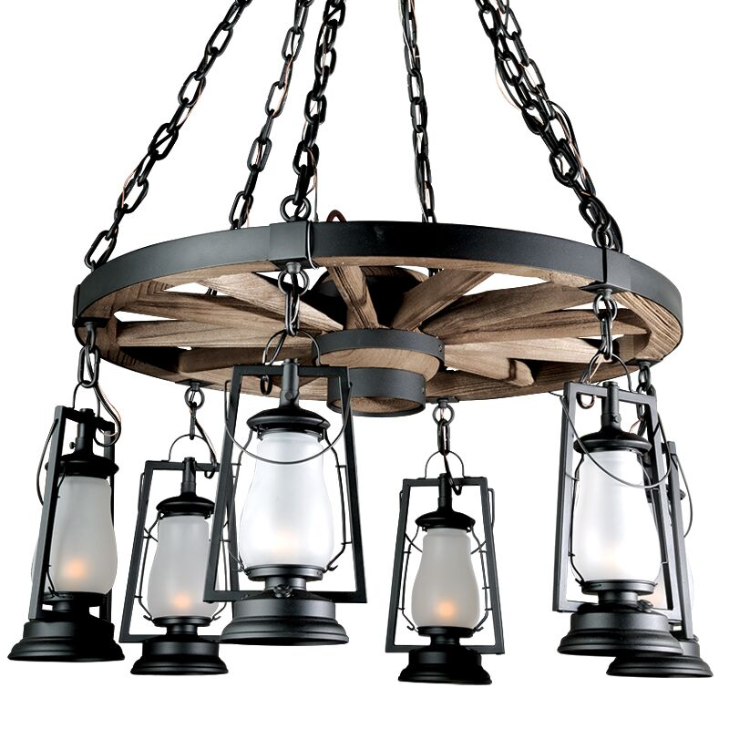 49er Series 6-Light Shaded Chandelier Finish: Textured Black, Shade: Frosted