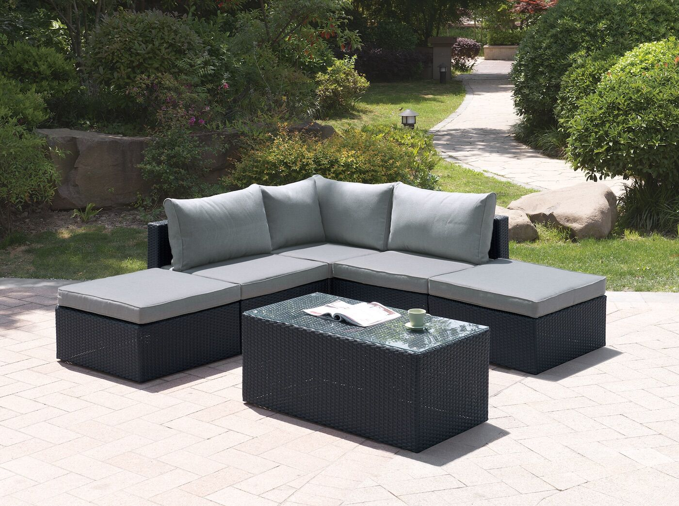 6 Piece Sectional Set with Cushions Color: Modern Black