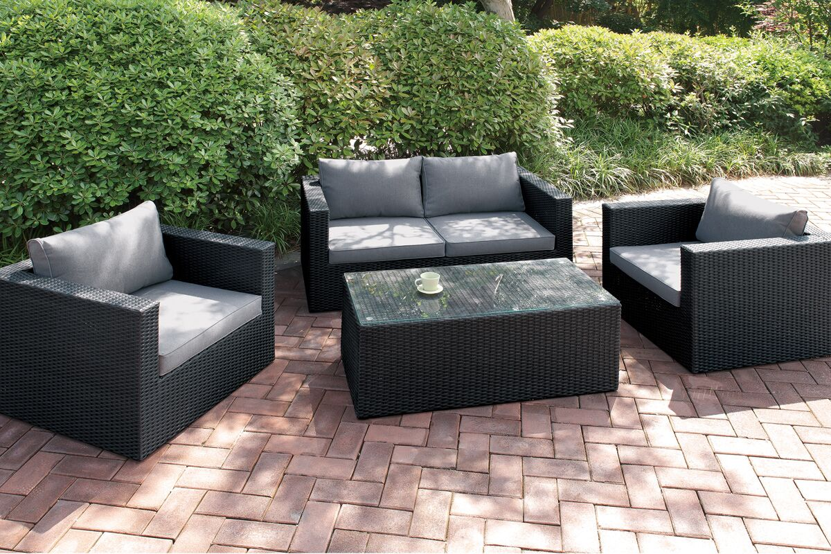 4 Piece Sofa Set with Cushions Color: Modern Black