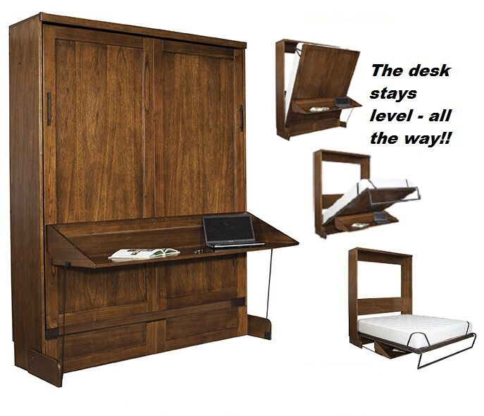 Chikodi Queen Murphy Desk Bed with Door Bookcase