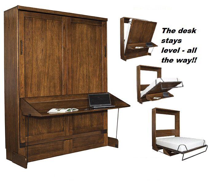 Chikodi Queen Size Murphy Desk Bed with Two Door Bookcases