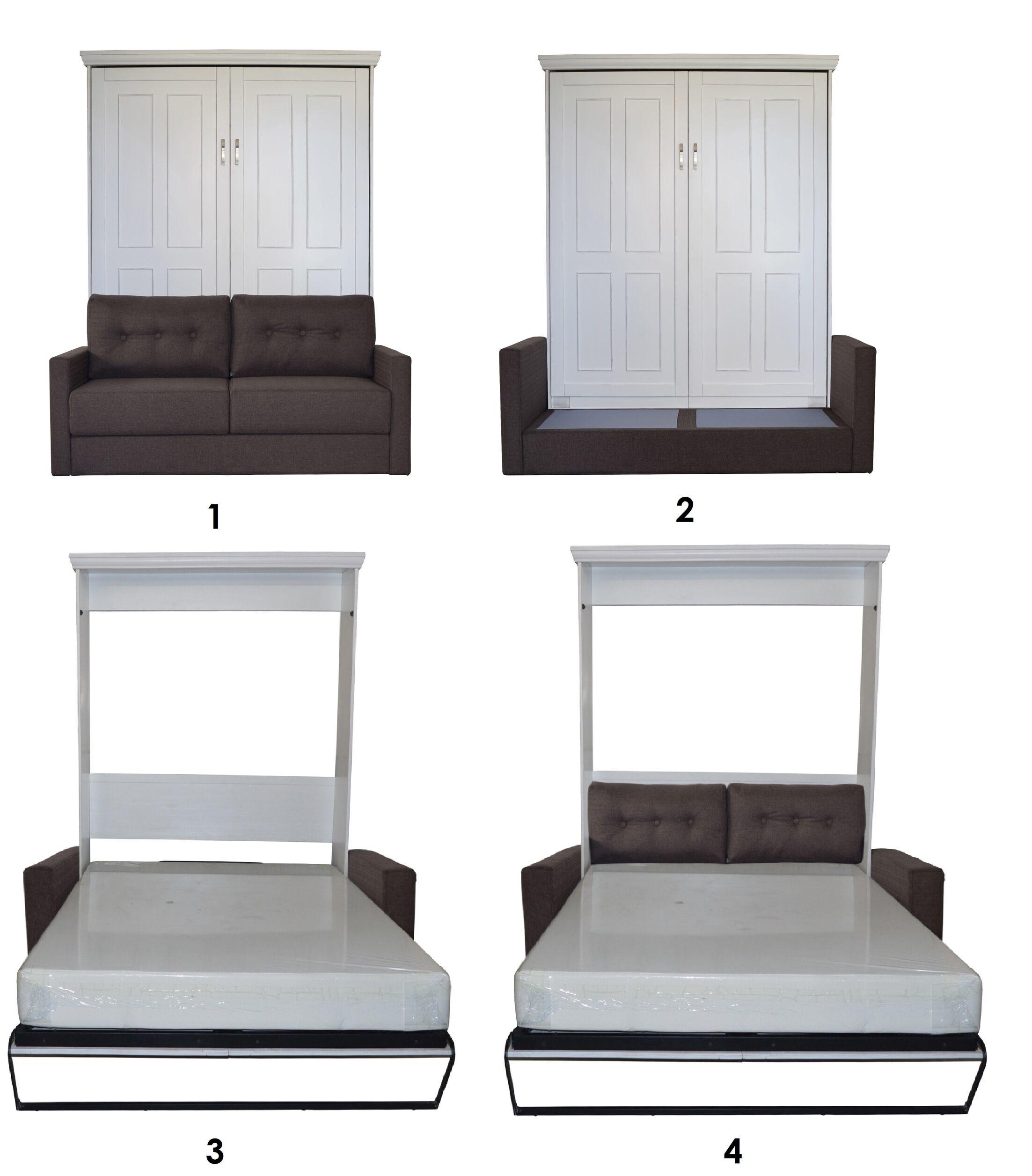 Sunset Dune Queen Upholstered Murphy Bed Frame Color: Antique White, Headboard Color: Scotts Highland