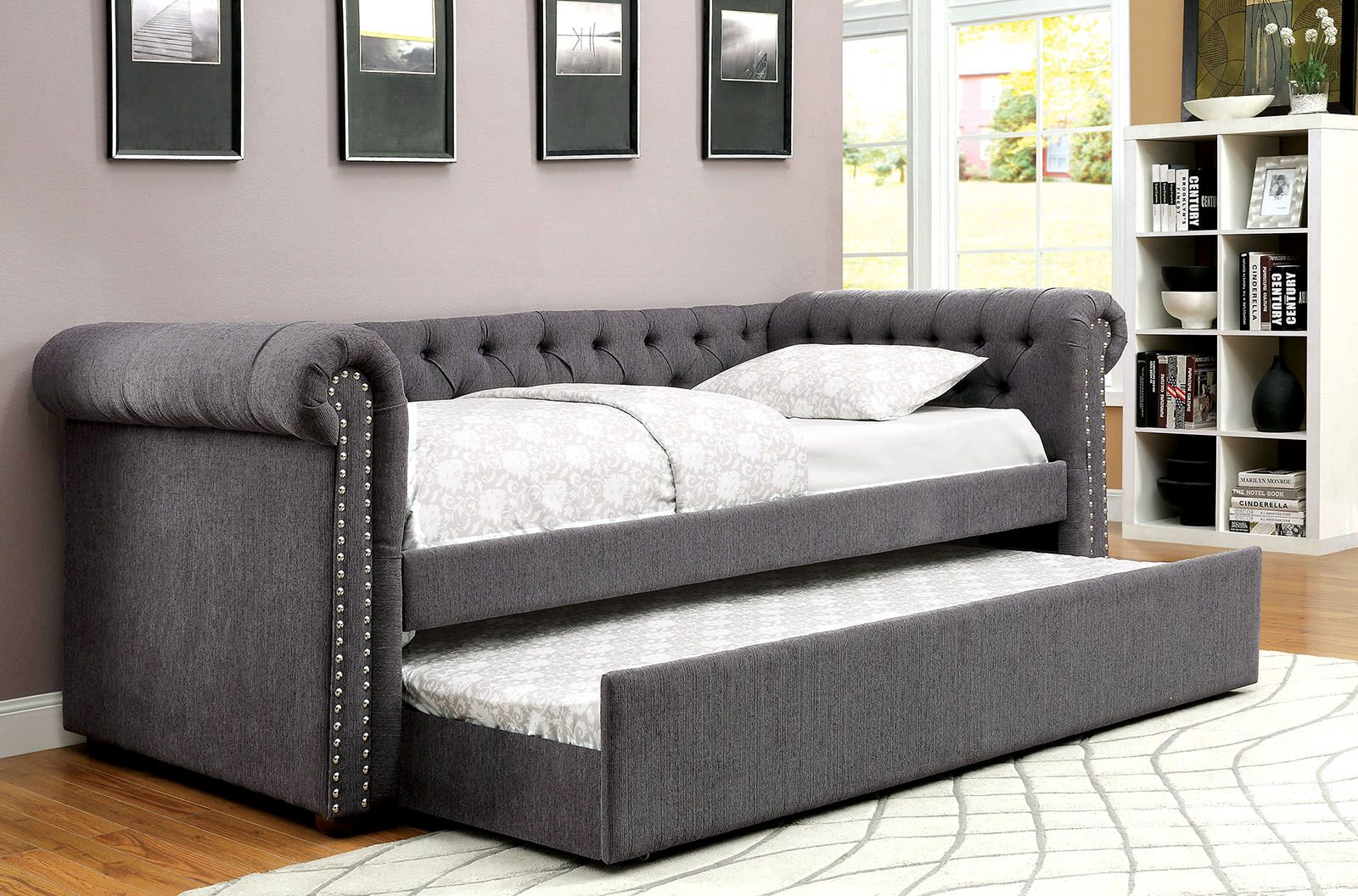 Baggs Daybed with Trundle Color: Gray, Size: Queen