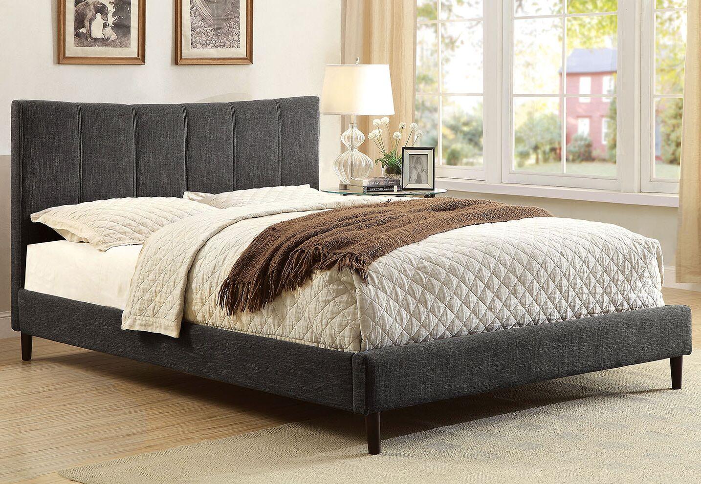 Ennis Upholstered Platform Bed Size: Twin, Color: Dark Gray