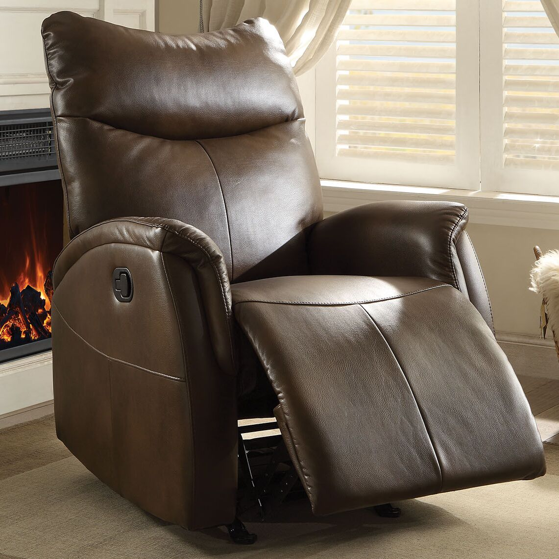 Risona Power Recliner Upholstery: Brown