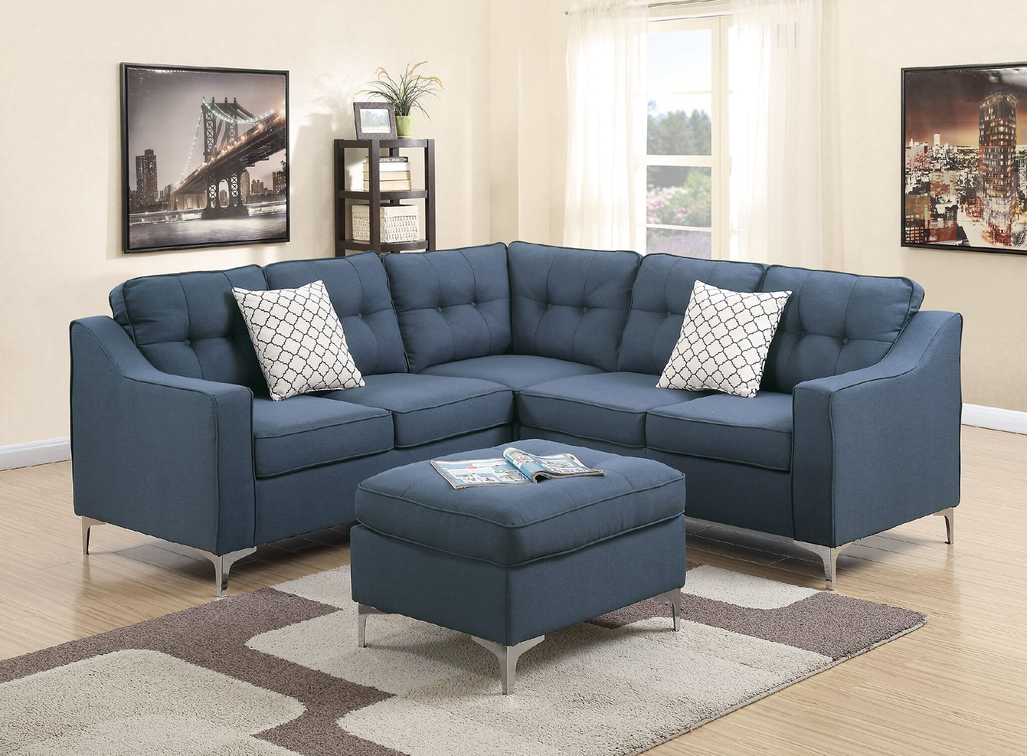Bacher 4 Piece Living Room Set Upholstery: Navy