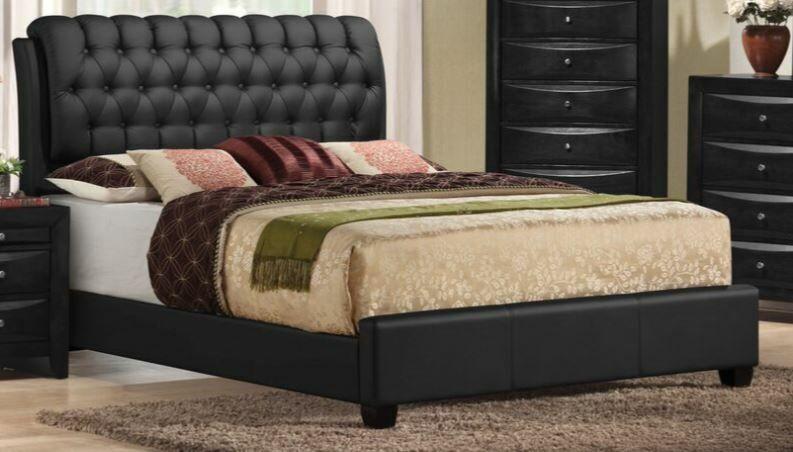 Jane Street Upholstered Panel Bed Color: Black, Size: Queen