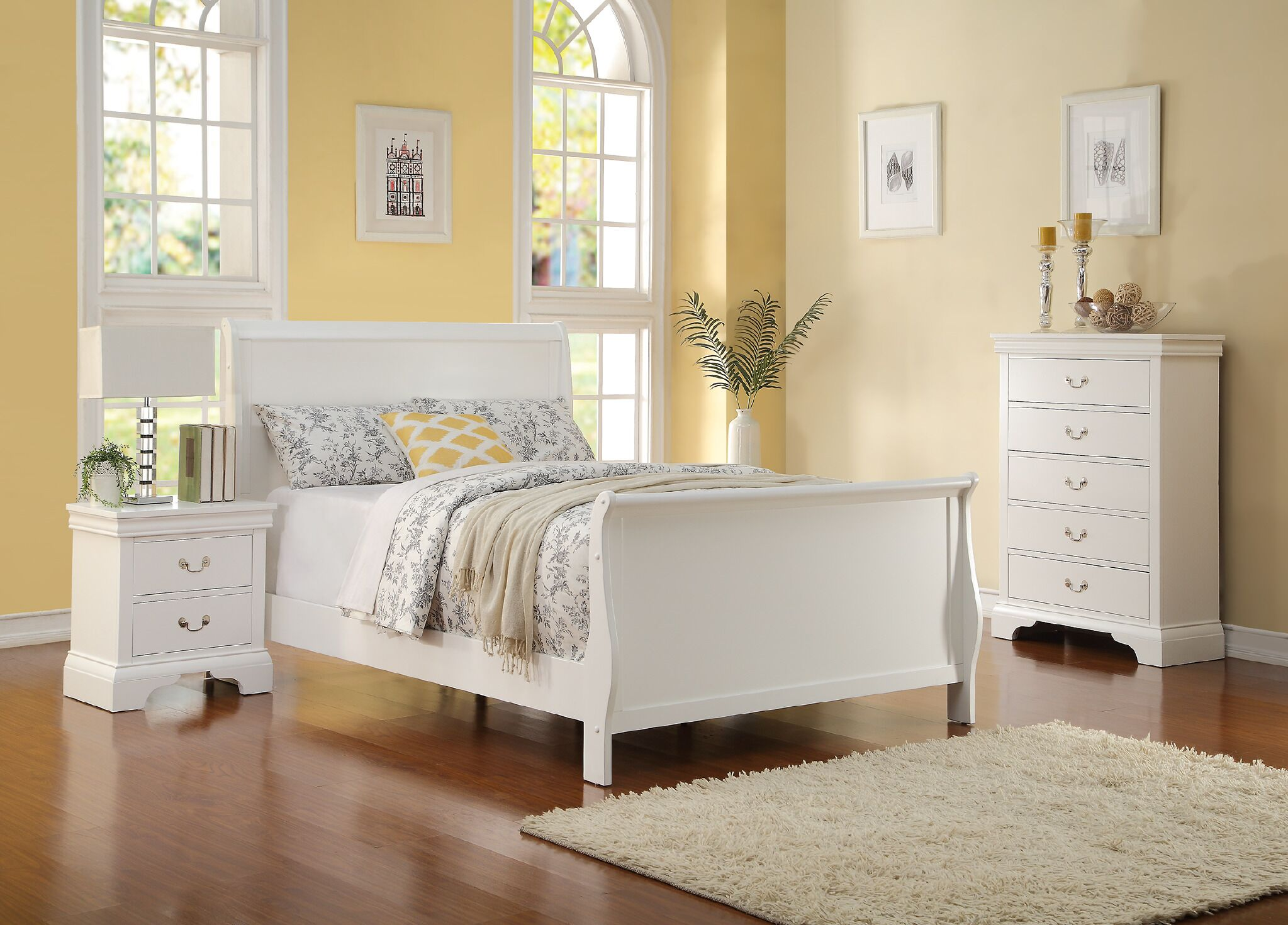 Alvin Sleigh Bed Size: Twin, Color: White