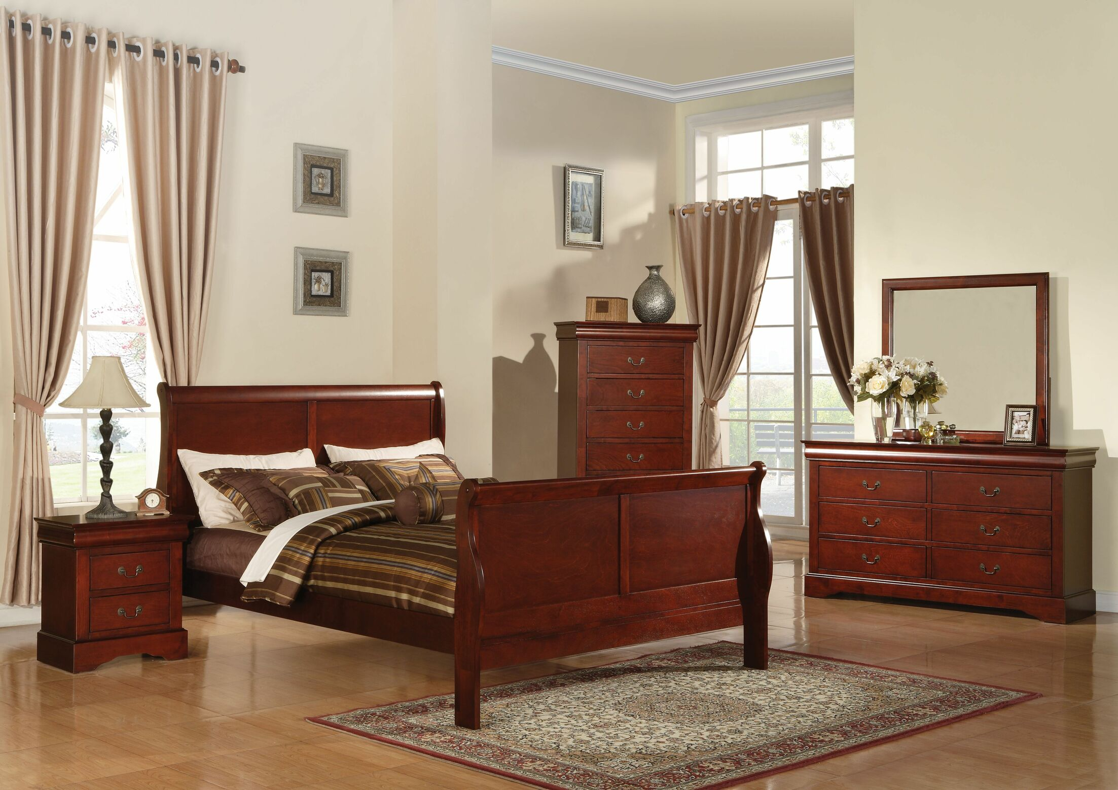 Trafford Sleigh Bed Size: Twin, Color: Cherry