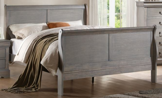 Trafford Sleigh Bed Size: Califonia King, Color: Gray