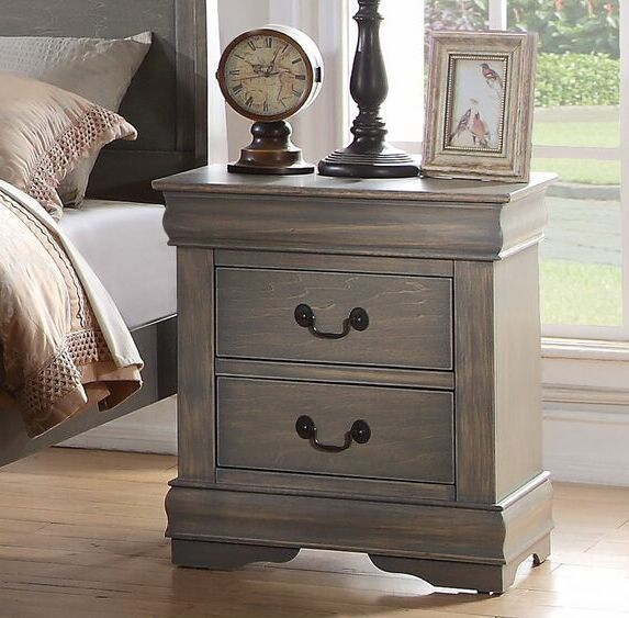 Trafford 2 Drawer Nightstand Color: Antique Gray