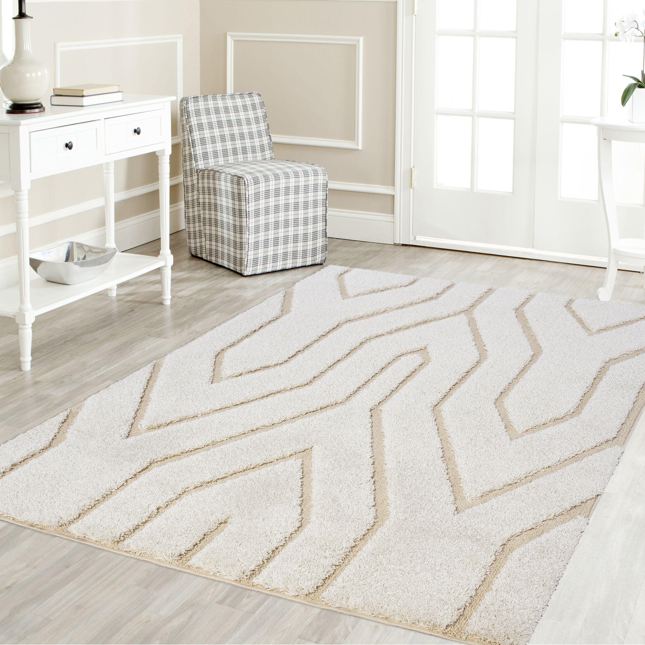Artz White/Beige Lines Area Rug Size: 5' x 8'
