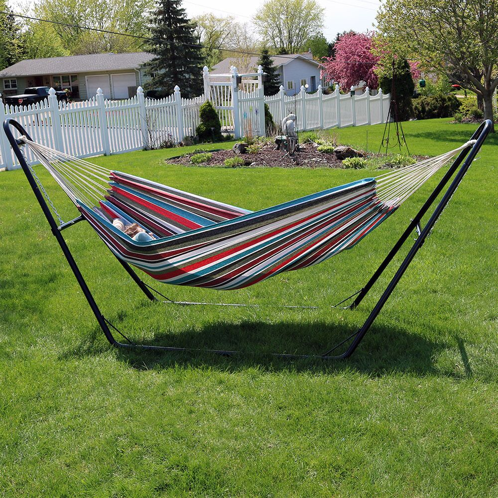 Poirier Jumbo Double Hammock with Stand Color: Cool Breeze