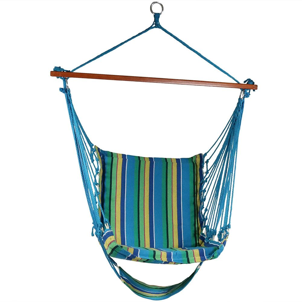 Lila Hanging Padded Soft Cushioned Chair Hammock Color: Ocean Breeze