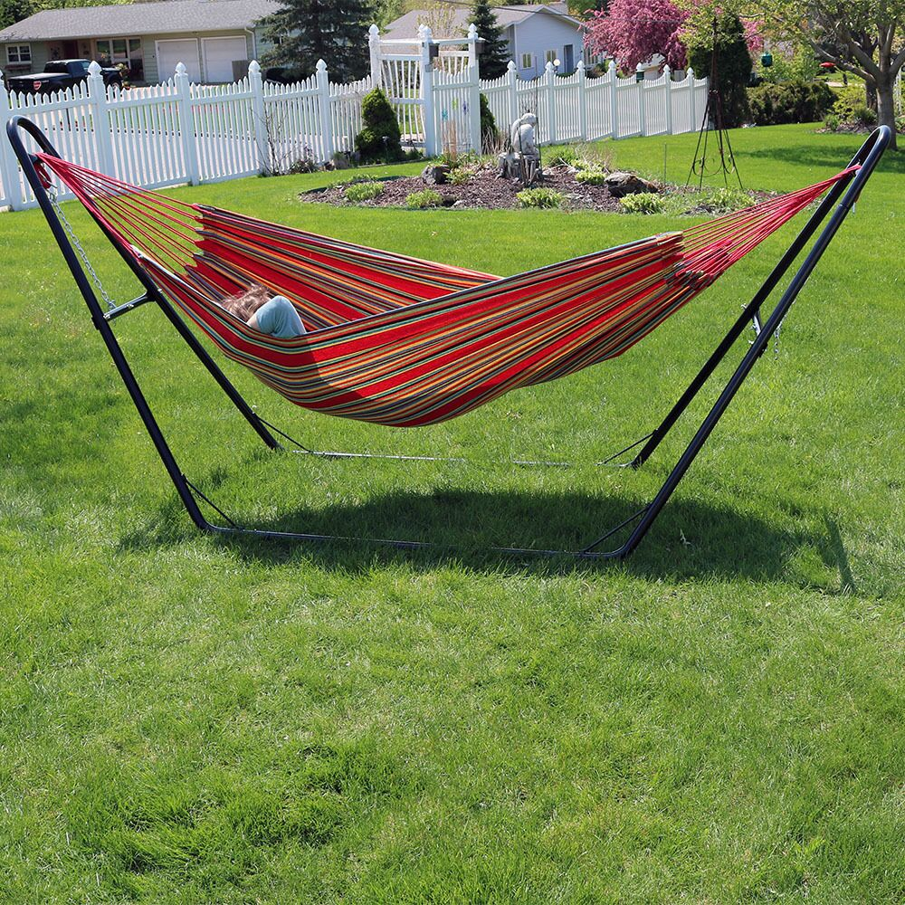Poirier Jumbo Double Hammock with Stand Color: Sunset