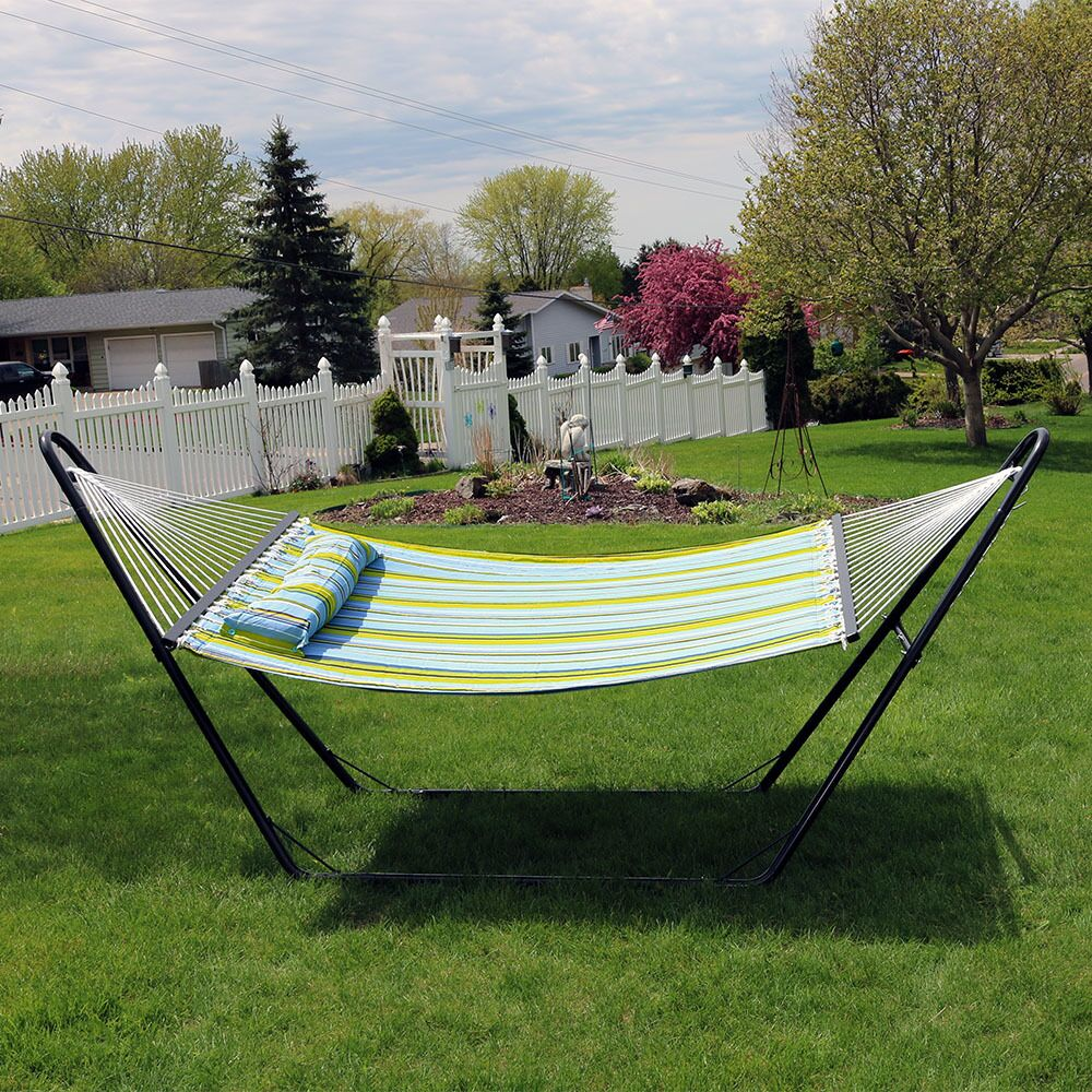 Brielle Quilted Double Fabric 2-Person Hammock with Stand Color: Blue/Green