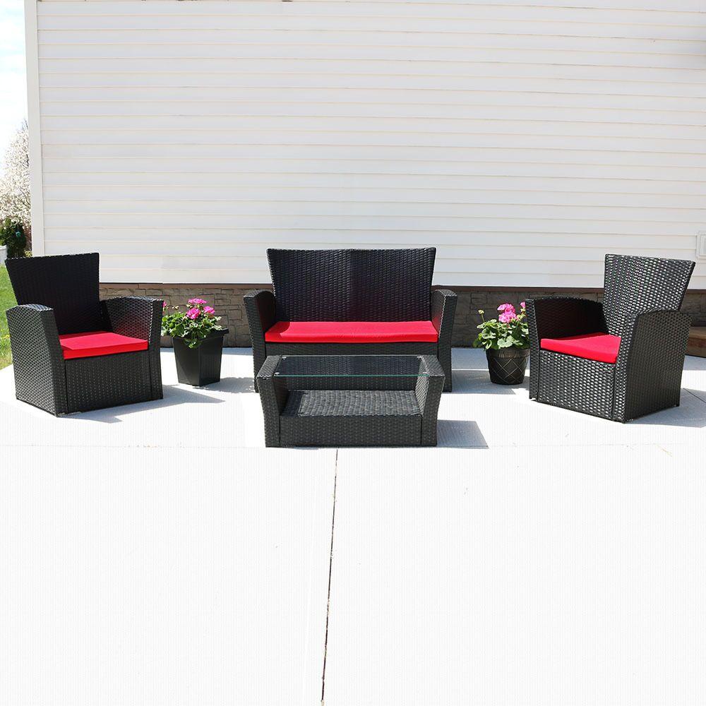 Anissa 4 Piece Sofa Set with Cushions