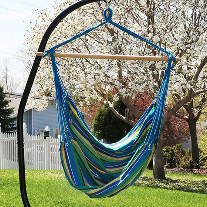 Sisk Jumbo Extra Large Chair Hammock with Stand Color: Ocean Breeze