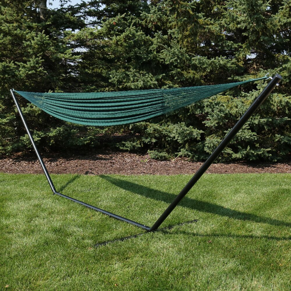 Kelsea Cotton Hammock with Stand Color: Green