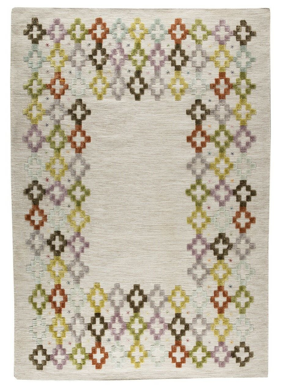 Khema 3 Hand-Woven Green/Purple/Brown Area Rug Rug Size: 5'6