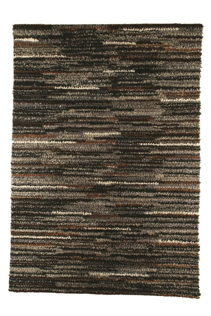 Mat Mix Hand-Woven Charcoal Area Rug Rug Size: 5'6