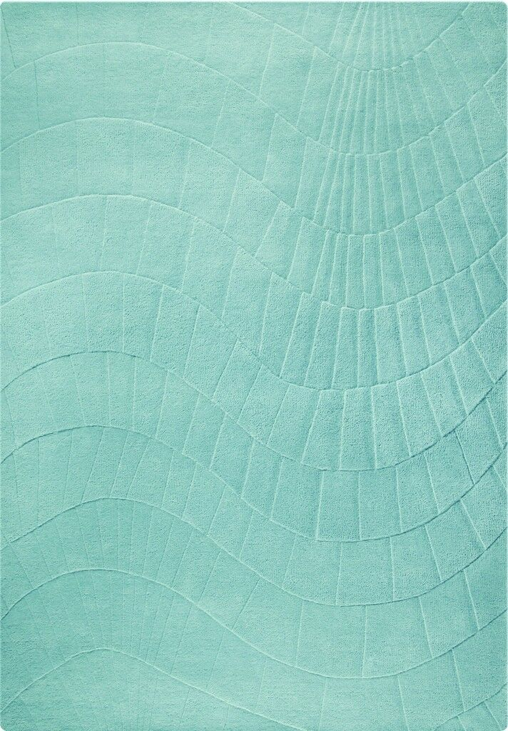 Terraza Hand-Tufted Aqua Area Rug Rug Size: 5'6