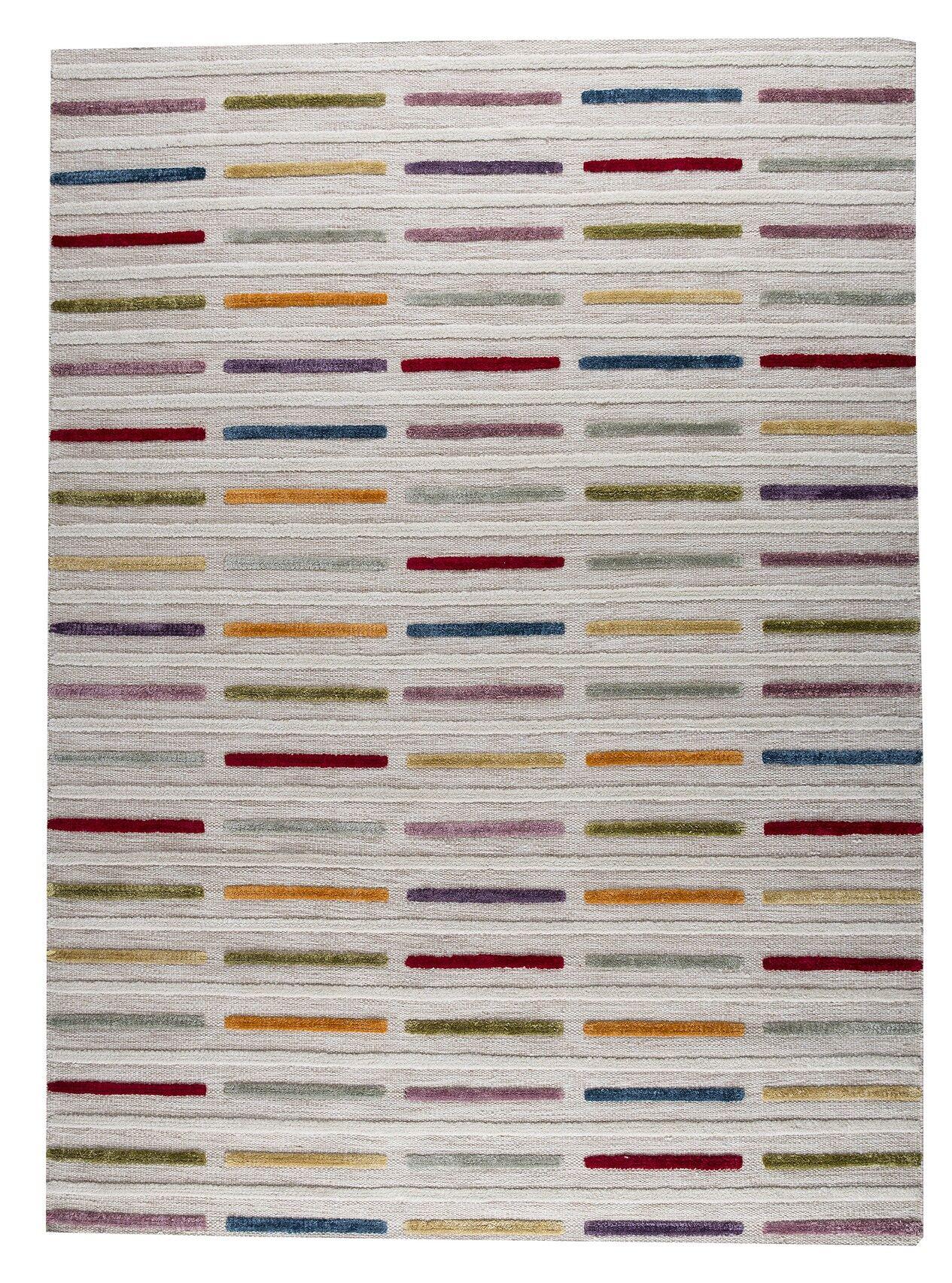 Khema 5 Hand-Woven Gray/Purple/Yellow Area Rug Rug Size: 4'6