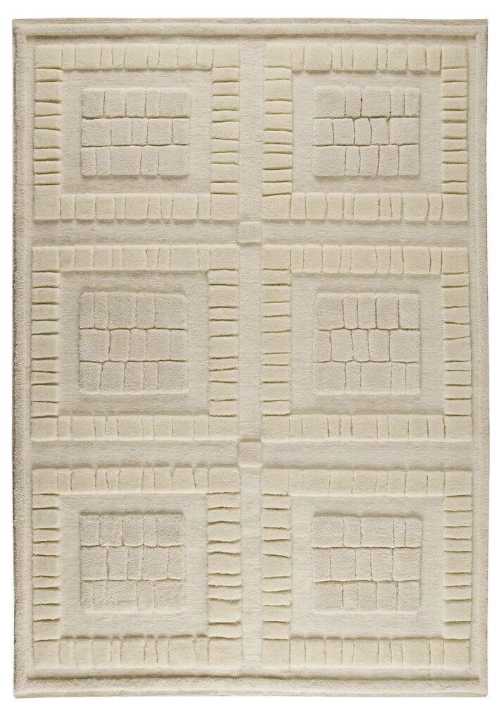 Bergamo Hand-Knotted White Area Rug Rug Size: 8'3