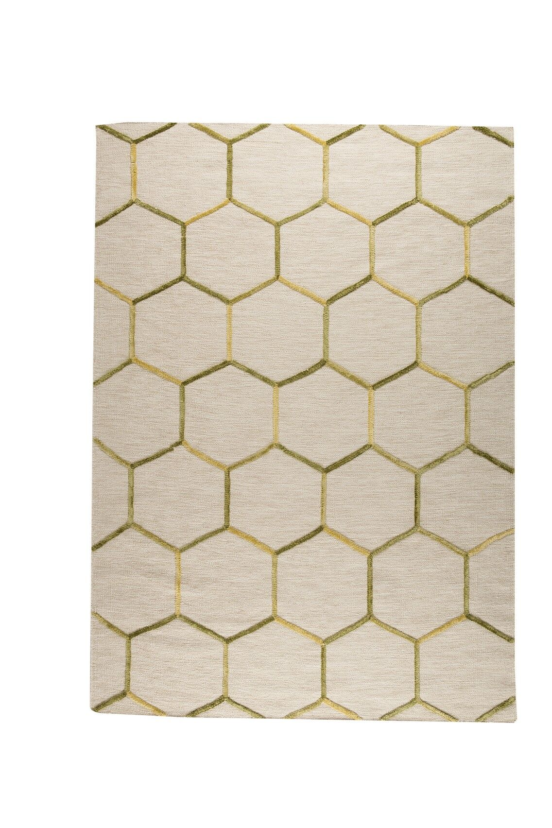 Khema 2 Hand-Woven Green/Gold Area Rug Rug Size: 5'6