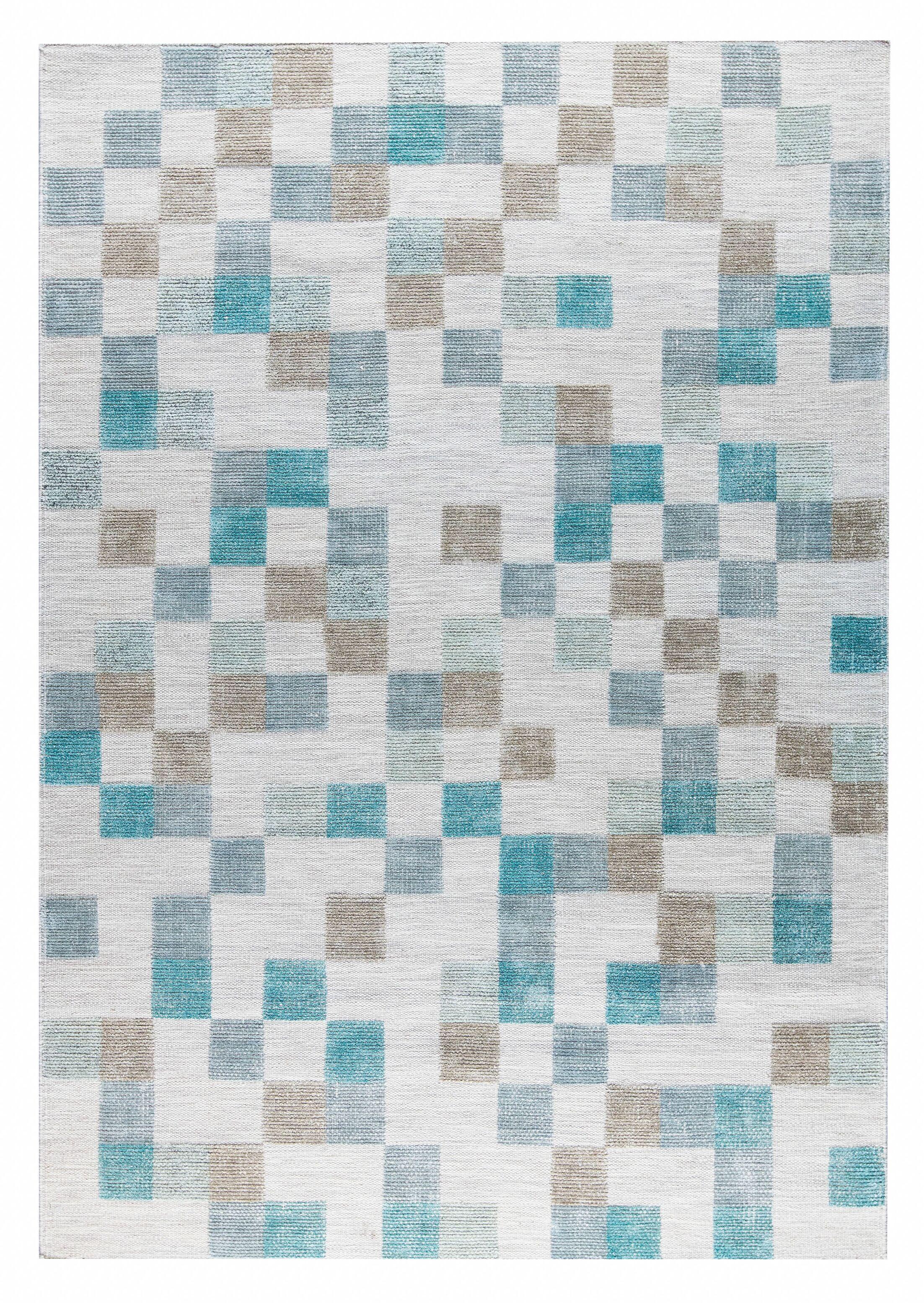 Kista Hand-Woven Aqua/Brown Area Rug Rug Size: 5' x 8'