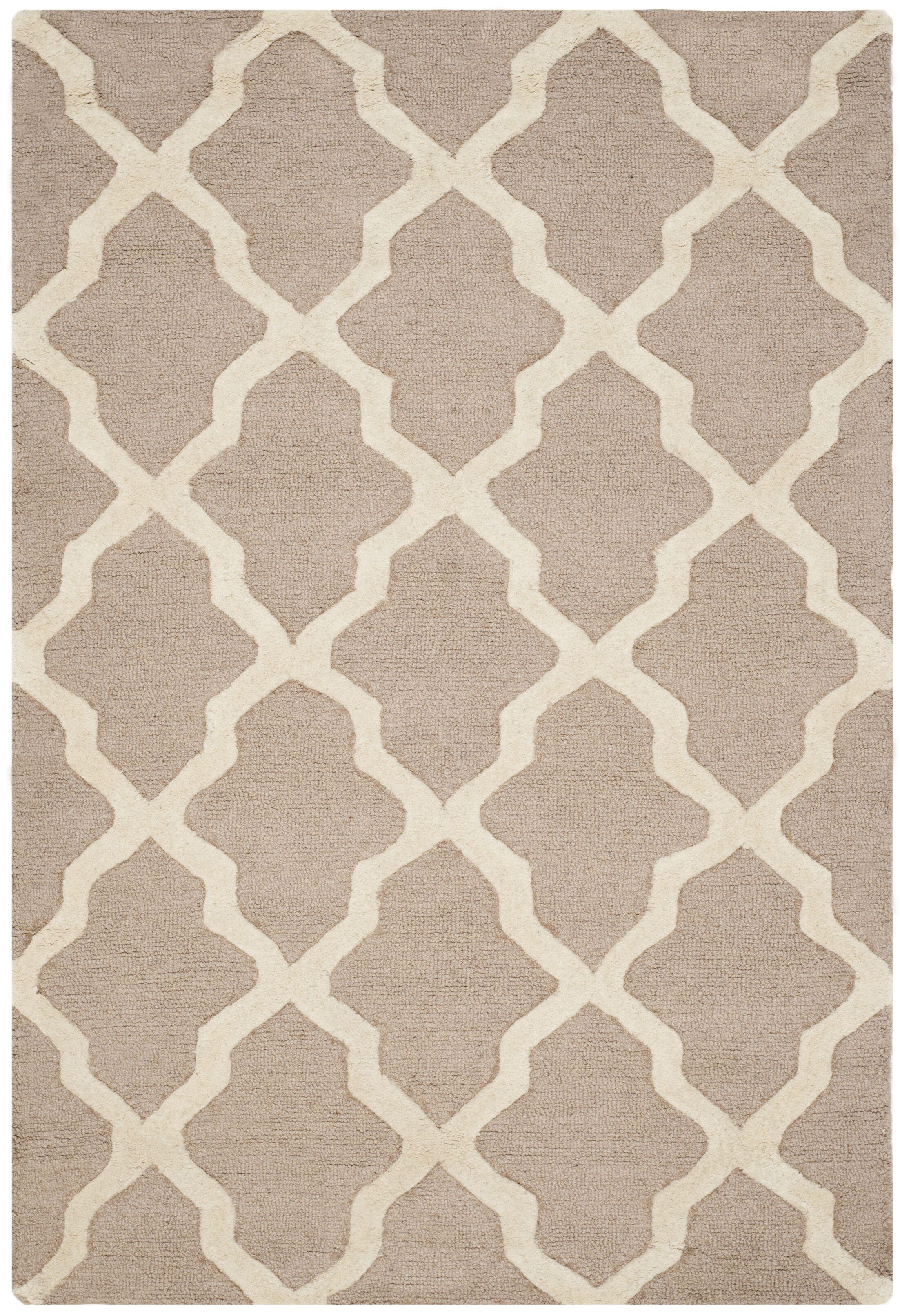 Kirschbaum Hand-Woven Wool Area Rug Rug Size: Rectangle 10' x 14', Finish: Beige