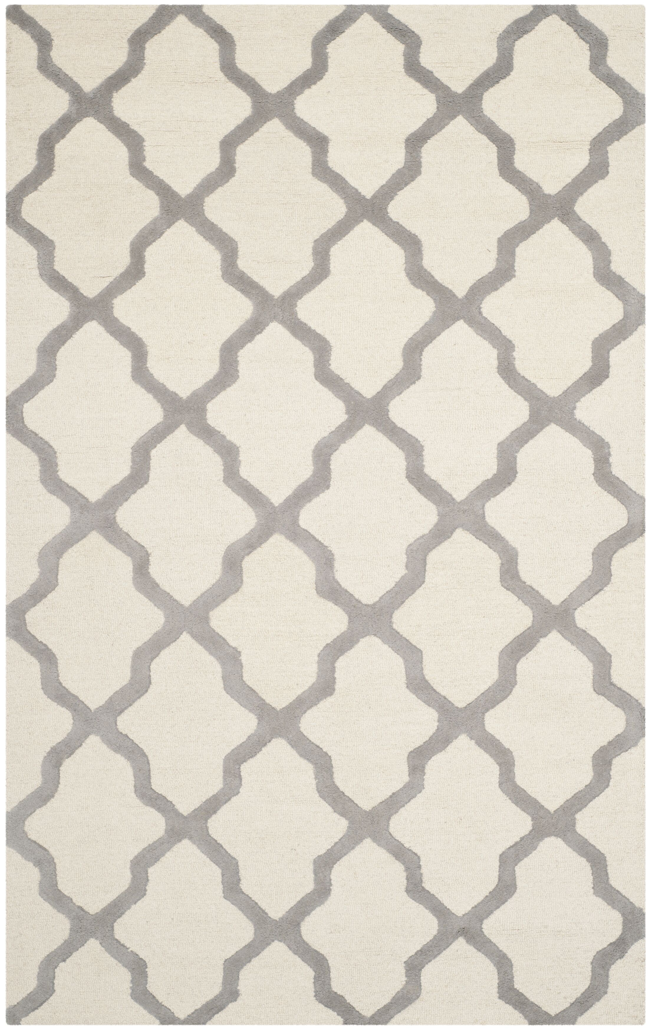Charlenne Hand-Tufted Ivory Area Rug Rug Size: Rectangle 12' x 18'