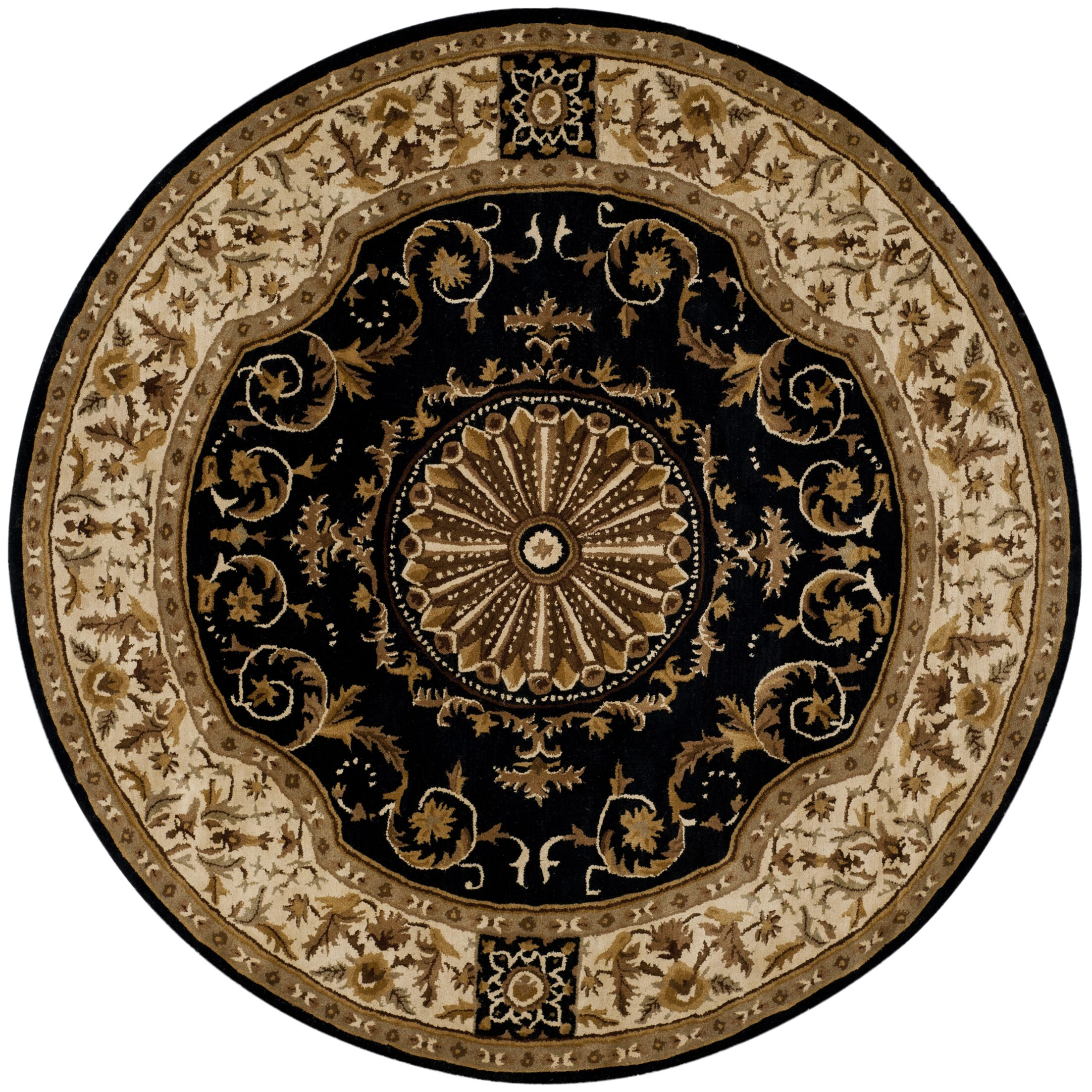 Atlasburg Hand-Tufted Wool Black Area Rug Size: Round 8'