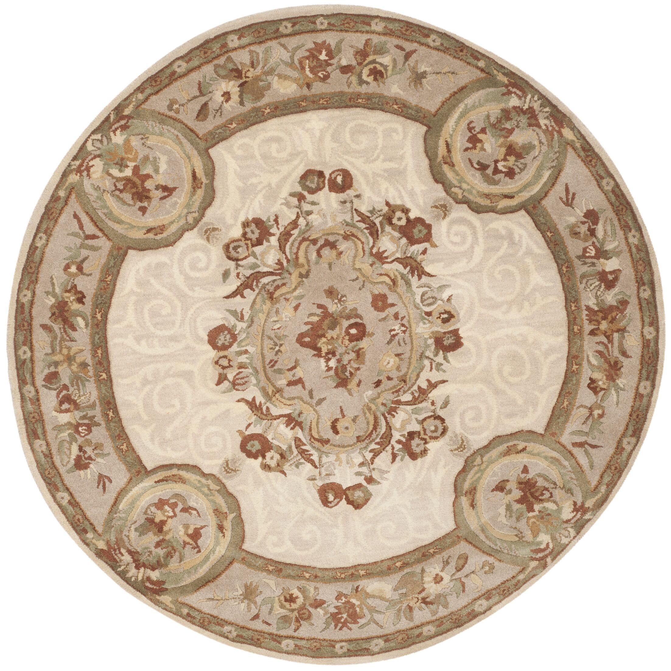 Atlasburg Hand-Tufted Wool Ivory Area Rug Size: Round 3'6